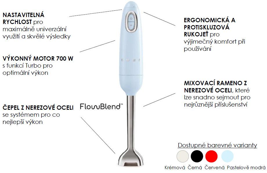 tyčový mixér smeg HBF02 popis