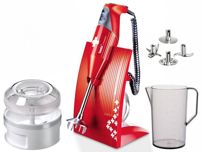 Bamix Swissline M200 tyčový mixér, červený, 200 W + Akční set Bamix Slicesy krouhač na maso a zeleninu (2 struhadla)