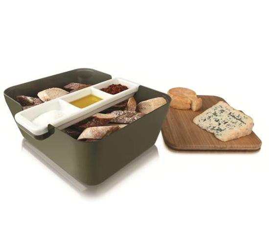 Icc Bread&dip miska na pochutiny s mističkami na dipy a bambusovým prkénkem