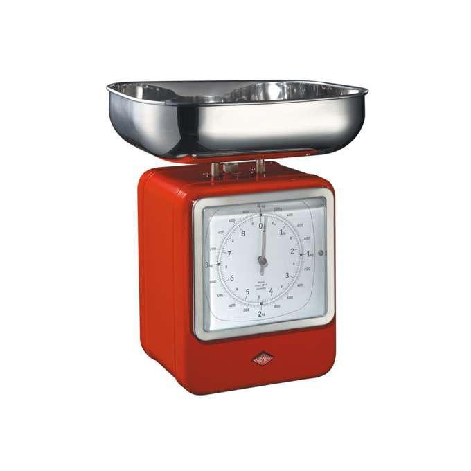 Wesco kuchyňské váhy s hodinami, červené