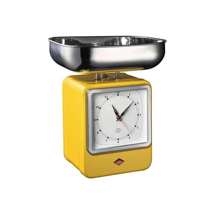 Wesco kuchyňské váhy s hodinami, žluté