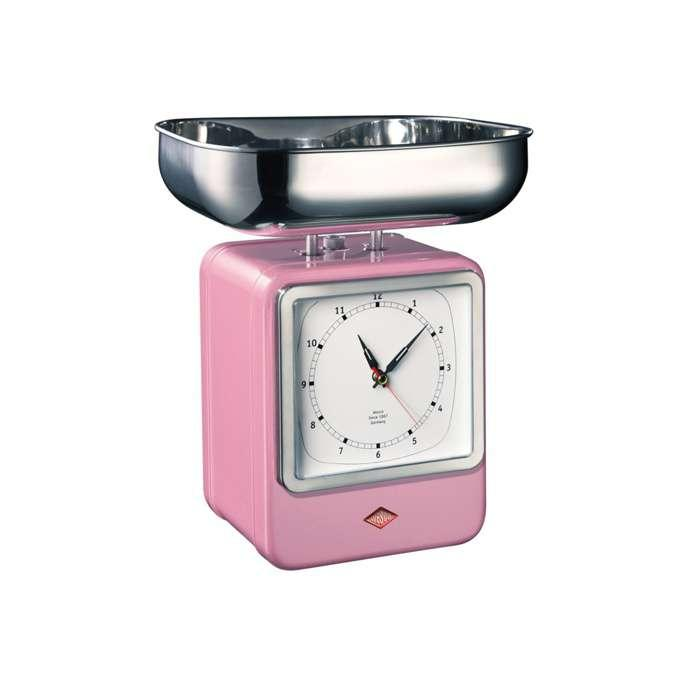 Wesco kuchyňské váhy s hodinami, růžové