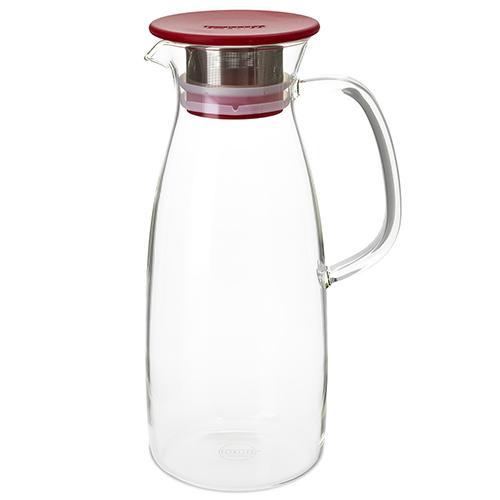 ForLife skleněný džbán Mist na ledový čaj, červený 1,5 l
