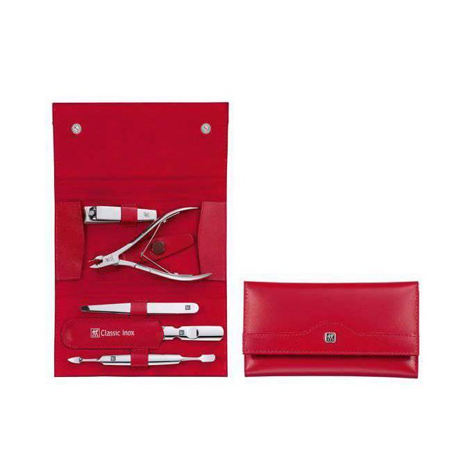Zwilling Classic Inox manikúra 2, červená kůže, 5 ks