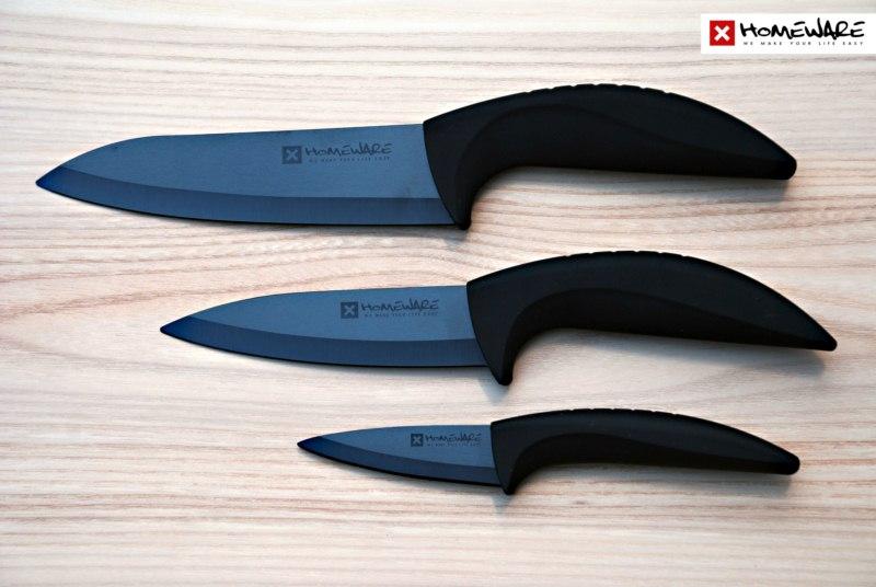 """Sada černých keramických nožů Homeware 3 ks, 3"""" + 5"""" + 6''"""