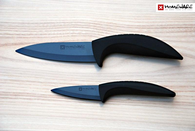 """Sada černých keramických nožů Homeware 2 ks, 3"""" + 5''"""