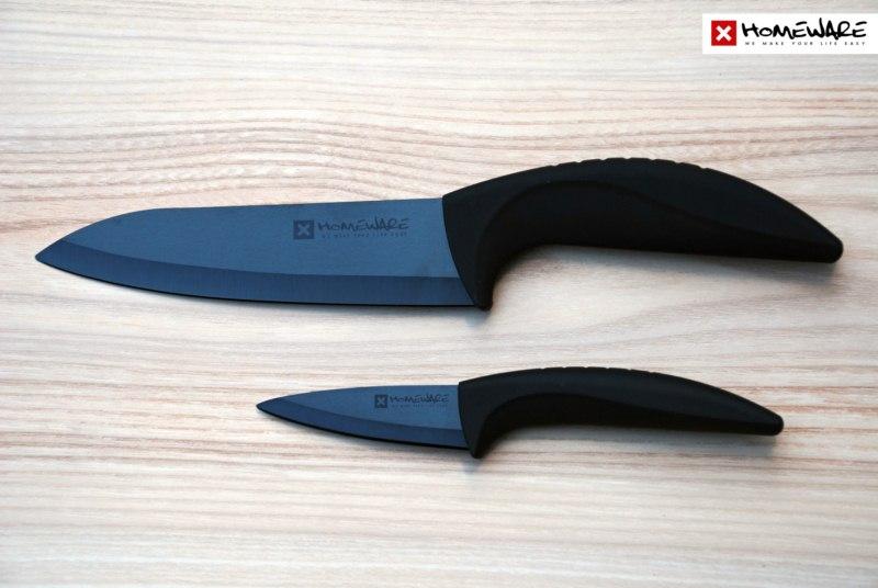 """Sada černých keramických nožů Homeware 2 ks, 3""""+ 6''"""