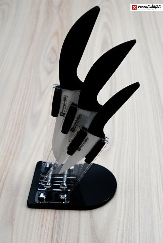 """Sada keramických nožů Homeware 3 ks, 4"""" + 5"""" + 6"""" + stojan"""