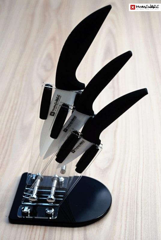 """Sada keramických nožů Homeware 3 ks, 3"""" + 4"""" + 5"""" + stojan"""