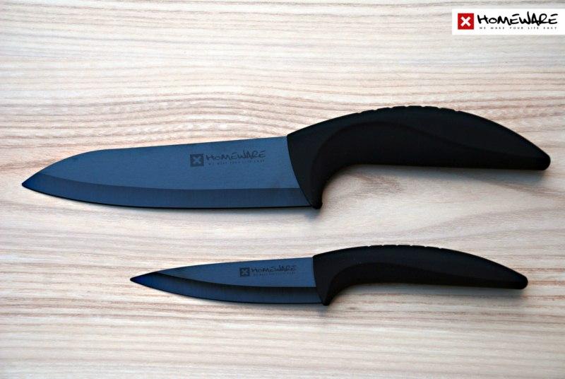 """Černé keramické nože Homeware - sada 2 ks, 4""""+ 6''"""