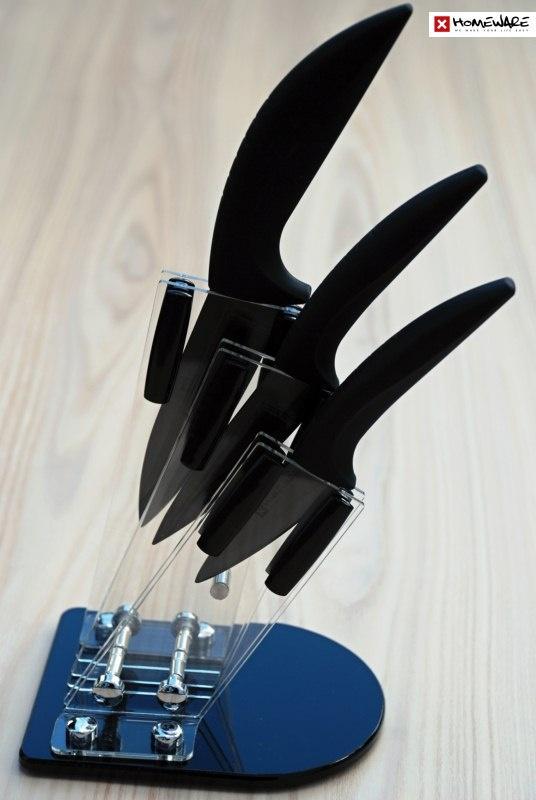 """Sada černých keramických nožů Homeware 3 ks, 3"""" + 4"""" + 5"""" + stojan"""