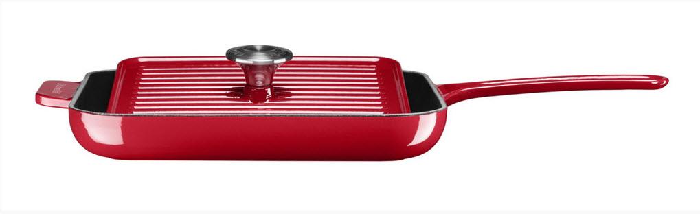 KitchenAid gril & panini pánev s poklicí litinová - královská červená, 24 cm