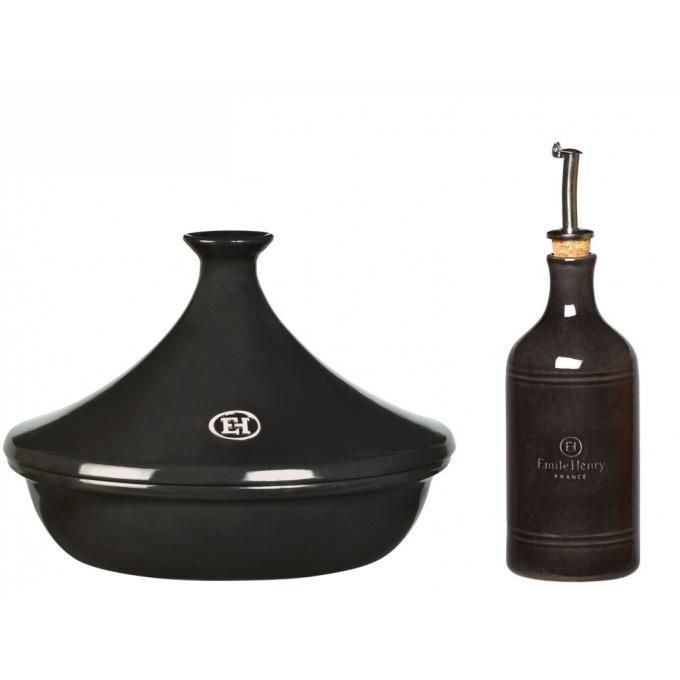 Emile Henry tajine 32 cm + dóza na olej, pepřová