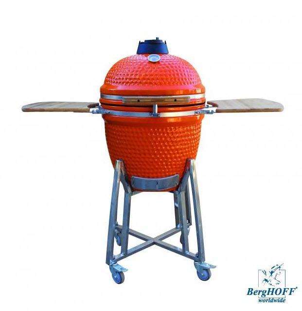 Kompaktní keramický gril BergHOFF Studio, 2415405 - oranžový + Akční set Souprava na grilování BergHOFF 5 ks, silikonový štětec