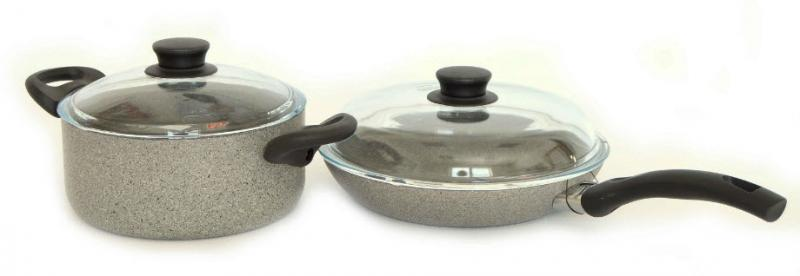 Ballarini Cortina Granitum sada nepřilnavého nádobí, 4 ks + dvě pokličky